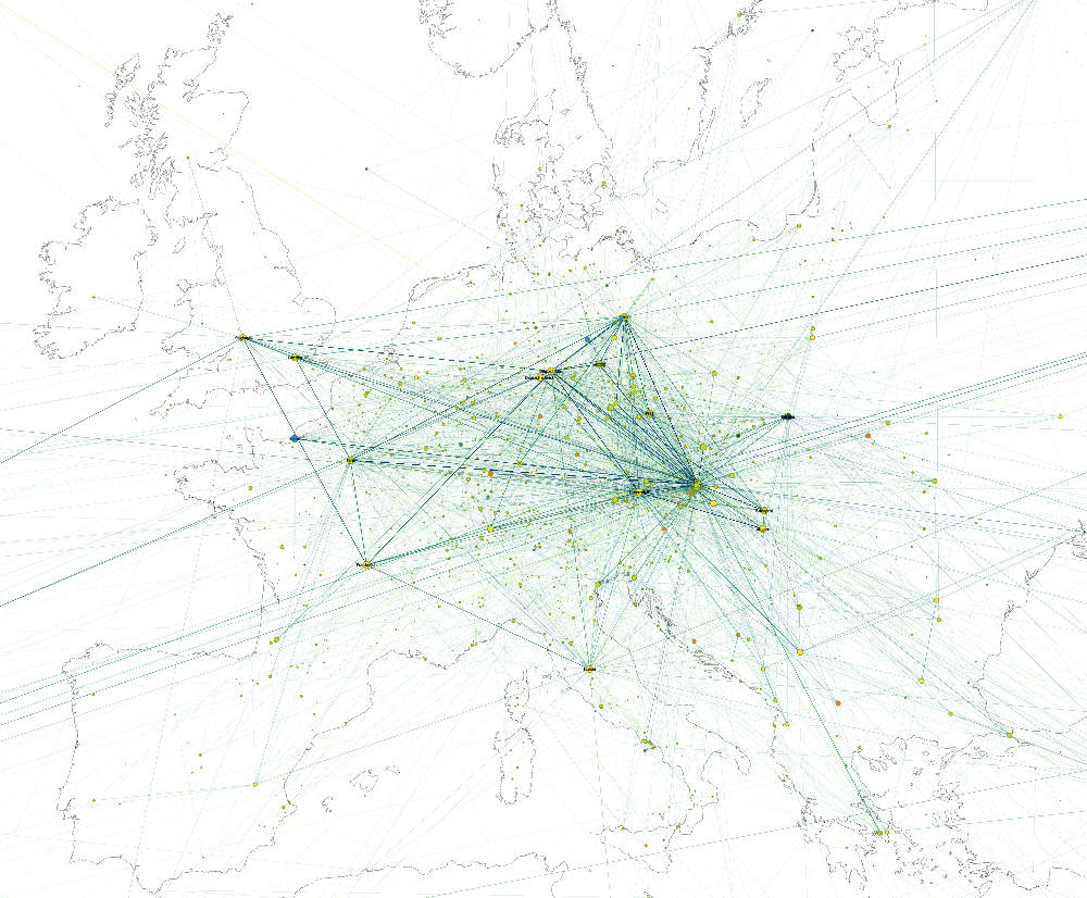Experiment on European scale projecting place names types and cooccurrences through time