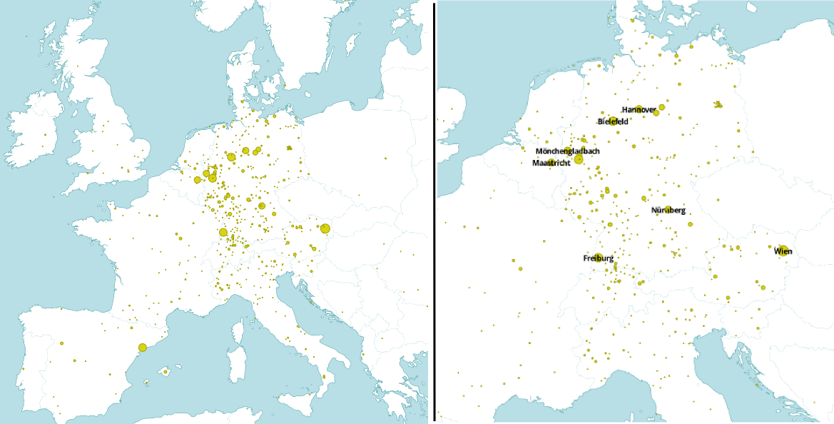 Maps of extracted place names
